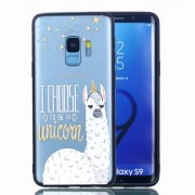 Embossment Pattern Rubberized TPU + PC Hybrid Shell for Samsung Galaxy S9 SM-G960 - I Choose to Be a Unicorn