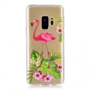 Pattern Printing Soft TPU Mobile Phone Case for Samsung Galaxy S9 SM-G960 - Flamingo and Flower