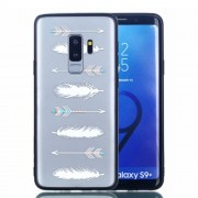 Rubberized Embossed Soft TPU + PC Combo Protection Cover for Samsung Galaxy S9 Plus G965 - Arrow and Feather