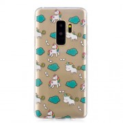 Pattern Printing IMD TPU Gel Cover for Samsung Galaxy S9 Plus SM-G965 - Unicorn and Cloud