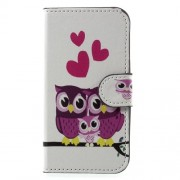 Wallet Leather Stand Patterned Flip Cell Phone Case for Samsung Galaxy J1 mini prime - Sweet Owl Family