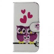 Δερμάτινη Θήκη Πορτοφόλι με Βάση Στήριξης για Samsung Galaxy J1 mini prime - Ερωτευμένες Κουκουβάγιες με το Παιδάκι τους