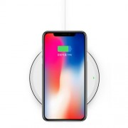 Round Shaped Colorful LED Light Qi Wireless Fast Charging Pad for Samsung S8/S8 Plus, Note 8 Etc. - White