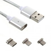 USB Sync Charge Braided Cable with 3 Magnetic Connectors Lightning and Micro USB and Type-C - Silver Color
