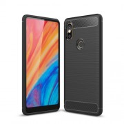 Carbon Fiber Texture Brushed TPU Mobile Phone Casing for Xiaomi Mi Mix 2s - Black
