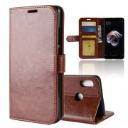 Crazy Horse Texture Wallet Stand Leather Protective Folio Casing for Xiaomi Redmi Note 5 Pro (Dual Camera) / Redmi Note 5 - Brown