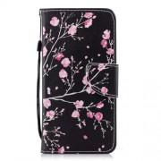 Δερμάτινη Θήκη Πορτοφόλι με Βάση Στήριξης για Xiaomi Redmi 5 - Ροζ Άνθη σε Σκούρο Φόντο