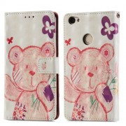 Δερμάτινη Θήκη Πορτοφόλι με Βάση Στήριξης για Xiaomi Redmi Note 5A Prime / Y1 - Ροζ Αρκουδάκι