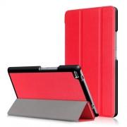 Δερμάτινη Θήκη Βιβλίο Tri-Fold με Βάση Στήριξης για Lenovo Tab 4 8 TB-8504F - Κόκκινο