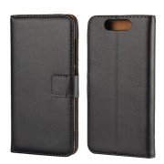 Genuine Split Leather Wallet Magnetic Flip Shell for ZTE Blade V8 - Black