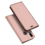 DUX DUCIS Skin Pro Series Θήκη Πορτοφόλι με Βάση Στήριξης για Huawei P20 Lite / Nova 3e - Ροζέ Χρυσαφί