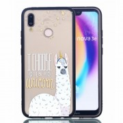 Rubberized Embossed PC + TPU Phone Shell for Huawei P20 Lite/Nova 3e - Alpaca Unicorn