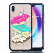 Rubberized Embossed PC + TPU Phone Casing for Huawei P20 Lite/Nova 3e - Donuts