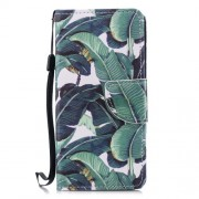 Cross Texture Pattern Printing Wallet Stand Leather Mobile Case for Huawei P20 Lite/Nova 3e - Banana Tree