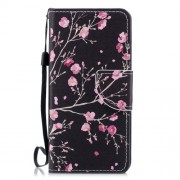 Cross Texture Pattern Printing Wallet Stand Leather Mobile Cover for Huawei P20 Lite/Nova 3e - Plum Blossom