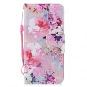 Cross Texture Pattern Printing Wallet Stand Leather Mobile Phone Case for Huawei P20 Lite/Nova 3e - Blooming Flowers