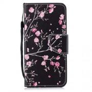 Δερμάτινη Θήκη Πορτοφόλι με Βάση Στήριξης για Huawei P Smart / Enjoy 7S - Ροζ Άνθη σε Σκούρο Φόντο