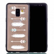 Rubberized Embossed Soft TPU + PC Combo Mobile Phone Accessory Case for Samsung Galaxy A8 (2018) - Feathers