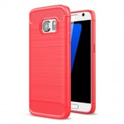 Carbon Fibre Brushed TPU Phone Case for Samsung Galaxy S7 SM-G930 - Red