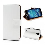 Δερμάτινη Θήκη Πορτοφόλι με Βάση Στήριξης (Όψη Γνήσιου Δέρματος) για Samsung Galaxy S4 i9500 i9505 - Λευκό