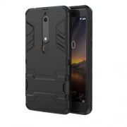Cool Guard PC TPU Combo Mobile Casing with Kickstand for Nokia 6.1 (5.5-inch) - Black
