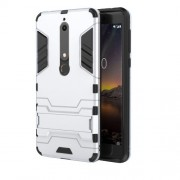 Cool Guard PC TPU Combo Mobile Cover with Kickstand for Nokia 6.1 (5.5-inch) - Silver