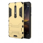 Cool Guard PC TPU Combo Cell Phone Casing with Kickstand for Nokia 6.1 (5.5-inch) - Gold
