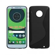 Θήκη Σιλικόνης TPU Σχέδιο S με Διακόσμηση Carbon Fiber  για Motorola Moto G6 Plus - Μαύρο