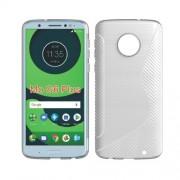 Θήκη Σιλικόνης TPU Σχέδιο S με Διακόσμηση Carbon Fiber  για Motorola Moto G6 Plus - Λευκό
