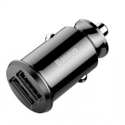BASEUS CE/FCC/ROHS Grain Mini Dual USB Smart Car Charger 3.1A for iPhone iPad Samsung etc. - Black