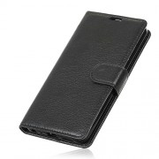 Litchi Skin Wallet Stand Leather Case for OnePlus 6 - Black
