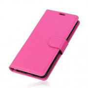 Litchi Texture Stand Leather Magnetic Wallet Shell for OnePlus 6 - Rose