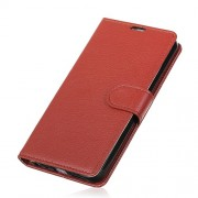 Litchi Texture Card Holder Leather Mobile Case for OnePlus 6 - Brown