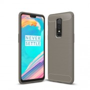 Carbon Fiber Texture Brushed TPU Mobile Phone Cover for OnePlus 6 - Grey