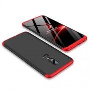GKK 360 μοιρών Σκληρή Θήκη Ματ με Βελούδινη Υφή Πρόσοψης και Πλάτης για OnePlus 6 - Μαύρο/Κόκκινο