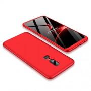 GKK 360 μοιρών Σκληρή Θήκη Ματ με Βελούδινη Υφή Πρόσοψης και Πλάτης για OnePlus 6 - Κόκκινο