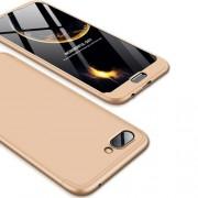 GKK 360 μοιρών Σκληρή Θήκη Ματ με Βελούδινη Υφή Πρόσοψης και Πλάτης για Huawei Honor 10 - Χρυσαφί