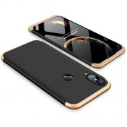 GKK 360 μοιρών Σκληρή Θήκη Ματ με Βελούδινη Υφή Πρόσοψης και Πλάτης για Huawei P20 Lite - Μαύρο/Χρυσαφί