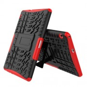 Υβριδική Θήκη Συνδυασμού Σιλικόνης TPU και Πλαστικού με Βάση Στήριξης για Huawei MediaPad T3 10 - Κόκκινο