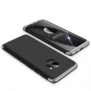 GKK 360 μοιρών Σκληρή Θήκη Ματ με Βελούδινη Υφή Πρόσοψης και Πλάτης για Samsung Galaxy S9 - Μαύρο/Ασημί