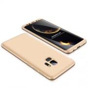 GKK 360 μοιρών Σκληρή Θήκη Ματ με Βελούδινη Υφή Πρόσοψης και Πλάτης για Samsung Galaxy S9 - Χρυσαφί