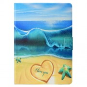 Pattern Printing Leather Card Holder Stand Tablet Casing for iPad 9.7-inch (2018) - Blue Sea and Beach
