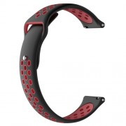 Two-tone Silicone Hollow Watch Band Strap for Fossil Q MARSHAL Gen2 / Huami Amazfit Watch 2/1 - Black / Red