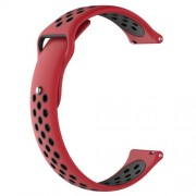 Two-tone Silicone Hollow Watch Bracelet for Fossil Q MARSHAL Gen2 / Huami Amazfit Watch 2/1 - Red / Black