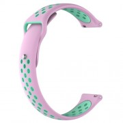 Two-tone Silicone Hollow Watch Bracelet Replacement for Fossil Q MARSHAL Gen2 / Huami Amazfit Watch 2/1 - Pink / Cyan