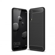 Carbon Fiber Texture Brushed TPU Phone Case for Huawei P20 Pro - Black