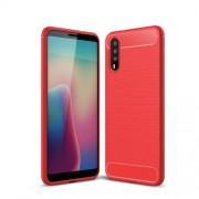 Carbon Fibre Brushed TPU Back Cover for Huawei P20 - Red