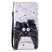 Δερμάτινη Θήκη Πορτοφόλι με Βάση Στήριξης για Huawei P Smart / Enjoy 7S - Λευκή και Μαύρη Γάτα