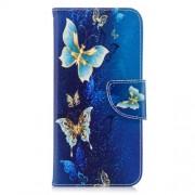 Δερμάτινη Θήκη Πορτοφόλι με Βάση Στήριξης για Huawei P Smart / Enjoy 7S - Χρυσομπλέ Πεταλούδες