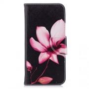 Δερμάτινη Θήκη Πορτοφόλι με Βάση Στήριξης για Huawei P Smart / Enjoy 7S - Ροζ Λουλούδια σε Μαύρο Φόντο